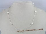 tcpn003 Handcrafted 16-inch sterling white rice shape freshwater pearls tin cup necklace