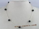 tcpn011 Handcrafted 16-inch sterling Tin Cup Necklace with 8mm agate beads