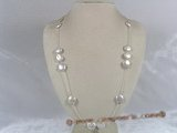"tcpn038 Handcrafted 25"" sterling tin cup necklace with white 12mm coin pearls"