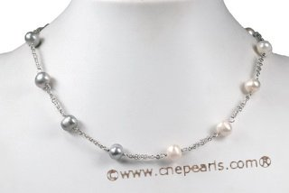 tcpn067 Silver toned 8-9mm White&Grey Potato Pearl Tin-cip Necklace