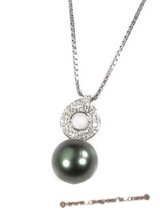 thpd007 10-11mm Black Tahitian round Pearl Circle-design Pendant in 925silver