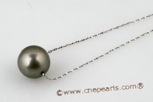 thpd016 Designer-inspired 16 inch black tahitian pearl gold necklace