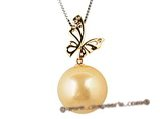 thpd021 15-16mm large Golden south sea Pearl pendant in 18K gold