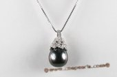Thpd093 Sterling silver Semi-baroque Black Tahitian Pearl Pendant, 10-11mm, A quality