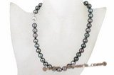 Thpn004 Luxury 10-11mm A+ Grade Round Black Tahiti Pearl Princee necklace