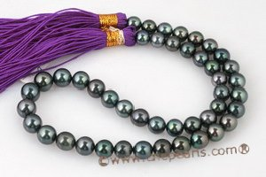 thps004 16-inch AA 8.5-10.0 mm Round Tahitian Multicolor Pearl Strand