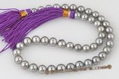 thps006 AA Grade 8.4-10.0 mm Silver Grey Tahitian Round Pearl Strand,16inch