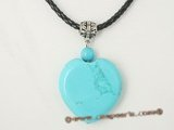 tpd006 Wholesale heart-shape blue turquoise pendant necklace with black cord