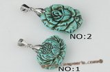 Tpd007 Beatiful carve flower truquoise pendant necklace