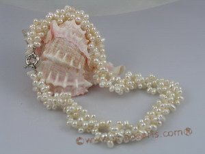 tpn003 Three strands 4-5mm white top-drilled freshwater pearl twisted necklace
