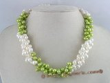 tpn011 three twisted strands 6-7mm white mixing green side-drilled pearls necklace