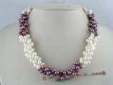 tpn014 three twisted strands 6-7mm white mixing purple color side-drilled pearls necklace