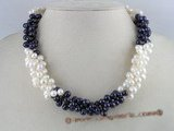 tpn016 three twisted strands 6-7mm white mixing purple side-drilled pearls necklace