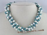 tpn018 three twisted strands 6-7mm white mixing dark bule top-drilled pearls necklace