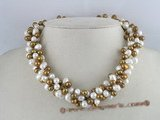 tpn019 three twisted strands 6-7mm white mixing coffee top-drilled pearls necklace