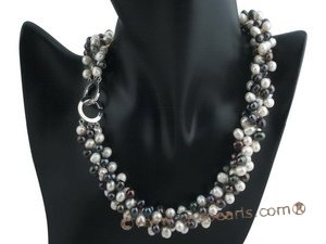 tpn020 three twisted strands 6-7mm white mixing black top-drilled pearls necklace