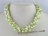 tpn021 three twisted strands 6-7mm white mixing light green top-drilled pearls necklace