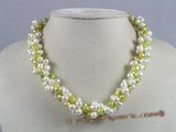 tpn025 twisted white side-dirlled pearl necklace with green nugget pearl
