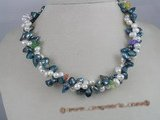 tpn031 Double twisted cultured pearl necklaces with blue blister and white top dirlled pear