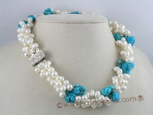 tpn038 Triple strands twisted 6-7mm white side-dirlled pearl necklace with nugget turquoise
