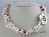 tpn041 Three twisted necklace white 6-7mm white side-drilled pearl
