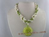 tpn048 three twisted  strands 6-7mm white top-dirlled cultred pearl necklace with olivine beads