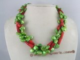 tpn065 Side-dirlled green coin pearl twisted necklace with coral