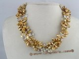 tpn067 Twisted champagne keshi pearl necklace with crystal beads