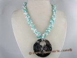 tpn070  wholesale mix-color cultured pearl twisted necklace with pendant