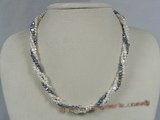 tpn094 3-4mm double shiny seed pearl three twisted necklace
