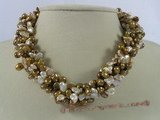 tpn101 Five strands purple mix champagne keshi pearl twisted necklace