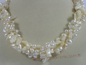 tpn103 Triple twisted strands blister&side-drilled pearl necklace in wholesale