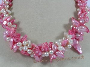 tpn108 Triple strands side-dirlled pearl&pink blister pearl twisted necklace