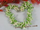 tpn109 Triple strands side-dirlled pearl&green blister pearl twisted necklace