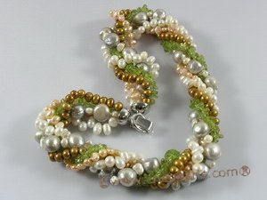 tpn112 wholesale Five twisted strands pearl&peridot neckalce in low price