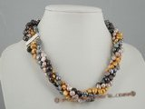 tpn114 Wholesale Dyed color Freshwater nugget Pearl twisted Necklace