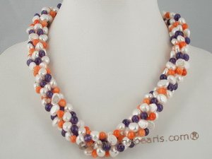 tpn116 Five strands colorful twisted pearl neckalce with amethyst and coral beads