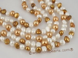 tpn117 White and champagne freshwater nugget pearl twisted neckalce in Five strands