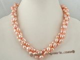 tpn127 6-7mm Pink freshwater rice pearl twisted neckalce in double strands