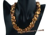 tpn141 Chocolate 12-13mm freshwater coin pearl twisted necklace in triple strand