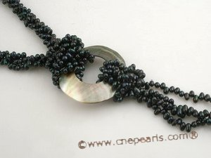 tpn147 Designer top-drilled pearl& shell pendant twisted necklace in black