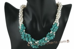 tpn153 White rice pearl 4 strand necklace with turquoise seeds highlight
