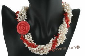 tpn154 17 Inch - Designer Style White Pearl and coral Choker necklace