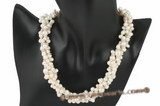 Tpn159 Designer Triple Strands Dancing pearl twisted necklace at discount price