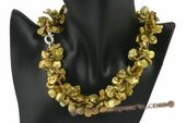 tpn161 Olive green side drilled keshi pearl twisted necklace in wholesale