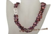 tpn164 Dark purple 11-12mm freshwater coin pearl twisted necklace