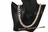 tpn165 Triple rows pink nugget pearl and crystal twisted necklace