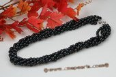 tpn174 Designer Six Rows Black Rice Shape Cultured Pearl Twisted Necklace