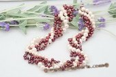 tpn179 Four Rows Freshwater Potato & Dancing Pearl Twisted Necklace