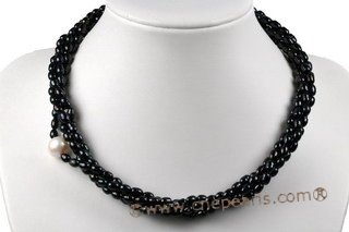 tpn182 Fashion Four Rows 5-6mm Freshwater Rice Pearl Twisted Necklace